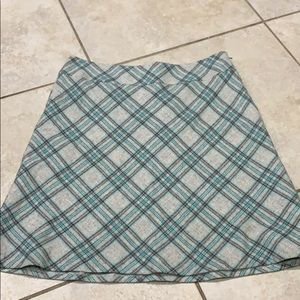 New Talbots Gray Wool Plaid A Line Skirt 12